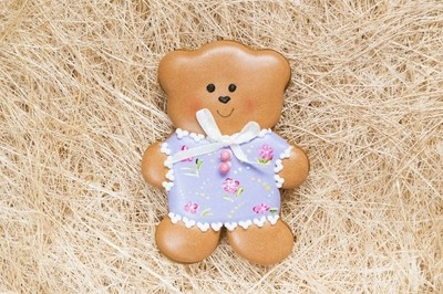 Background with a honey-cake bear