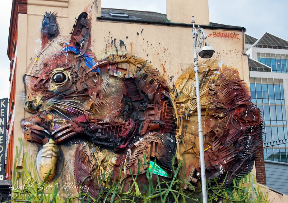 This is the entire view of this wonderful recycled art piece made of old parts of cars etc....Located in Dublin, Ireland