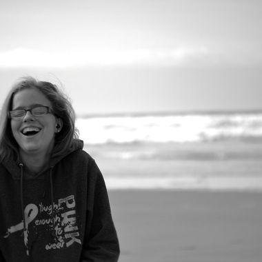 A candid shot of my daughter at the beach in Seaside, Oregon for her first view of the Pacific Ocean.
