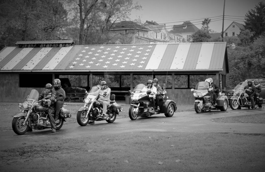 Our motorcycle club showing the American spirit