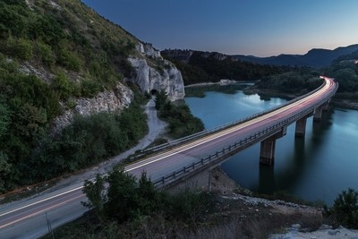 Bridge over lake in the mountains