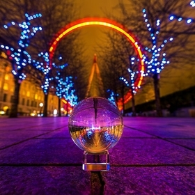 A long exposure of the iconic London EyE through the refraction of a crystal ball