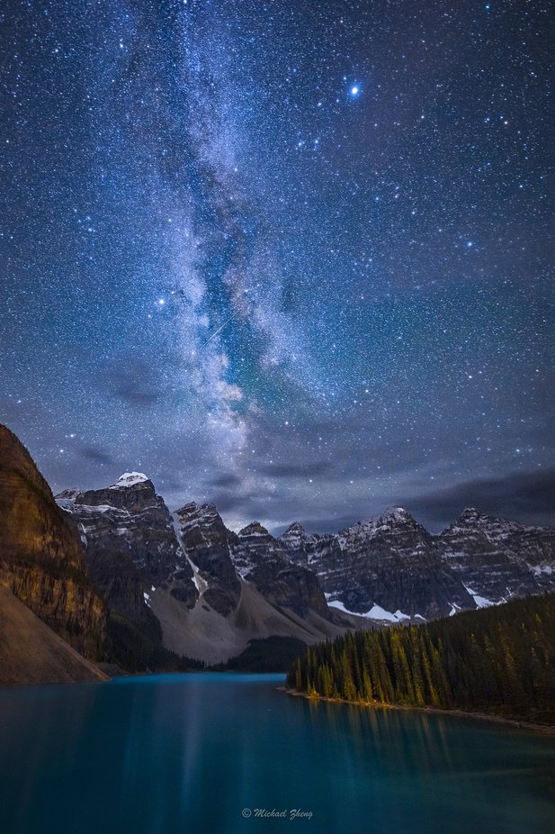 Moraine Lake Under the Night Sky by GoMustang - Night Wonders Photo Contest