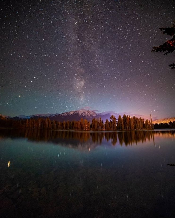 The Milky Way and mountains. Stars above and below at Lake Beauvert and Jasp by lucasaford - Capture The Milky Way Photo Contest