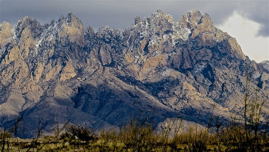 This is the Organ Mountains located in Las Cruses New Mexico. They have a slight snow fall on the...