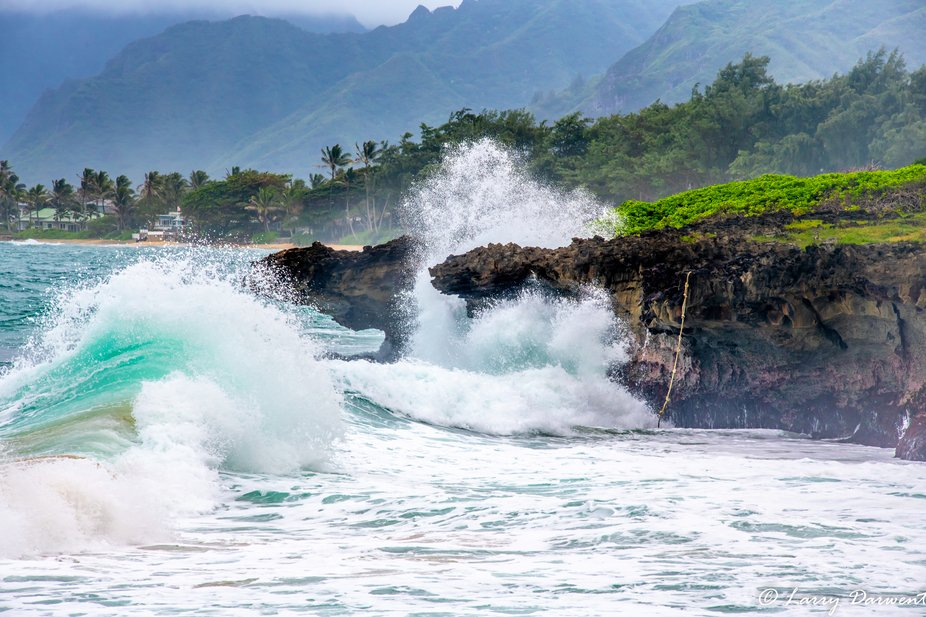 During a recent visit to Oahu Hurricane Lane was moving in to the area causing the tide to act up