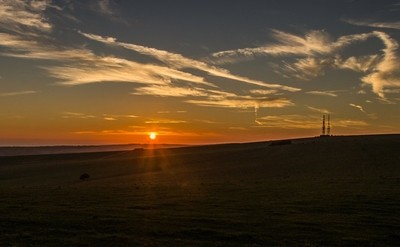Sunset Firle Beacon, South Downs, East Sussex October 2018