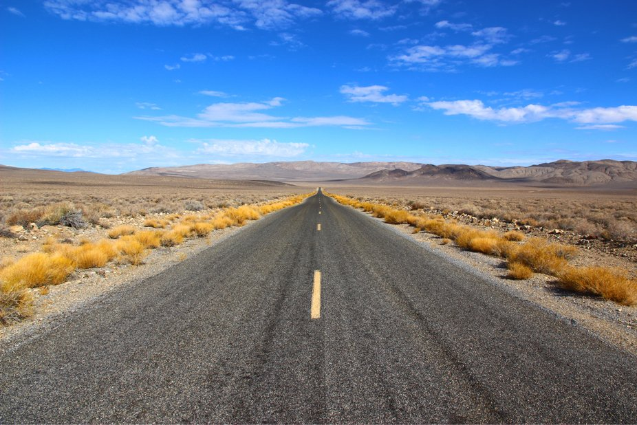 Wide open road. Death Valley National Park.