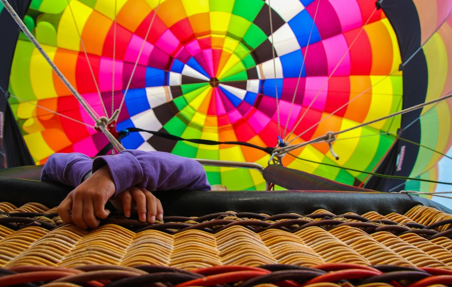 its a photo looking up in a hot air balloon.