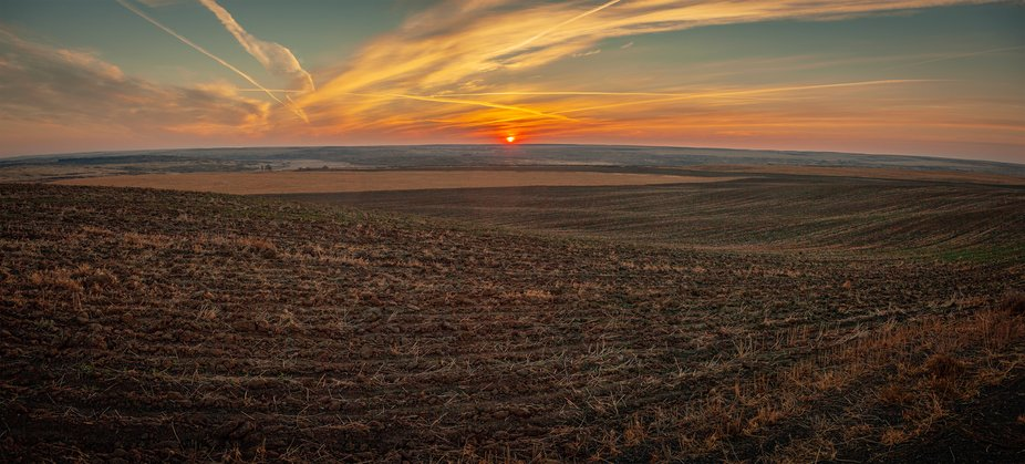 Sunrise, panoramic shot of a farmer's field near Sprague, WA