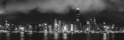 Hong Kong Skyline in Black and White