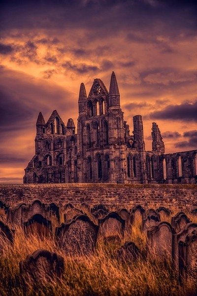 Whitby Abbey and graveyard of Dracula