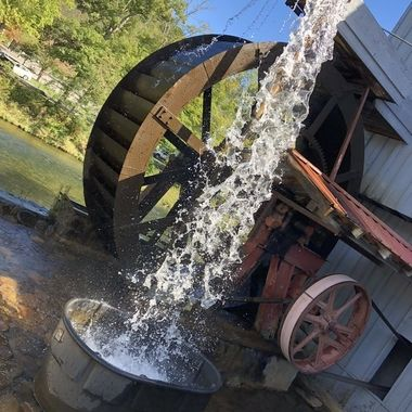 This water wheel house is in full working order. It's beautiful and takes you back to a time when life was more simple, yet ingenious.