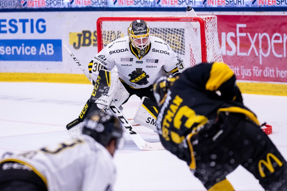 This photo was taken during the hockey game between the two swedish teams VIK and AIK