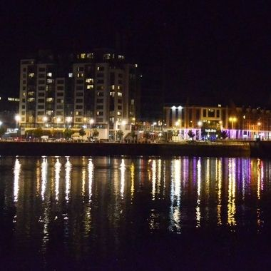 Caught these night time reflections on the River Shannon nin Limerick, Ireland