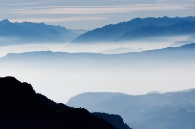 Misty mountains in Alps