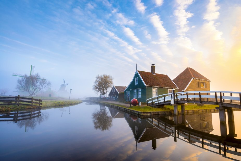 The famous village Zaanse Schaans... This is from one exposure, with perfect sunrise reflection....