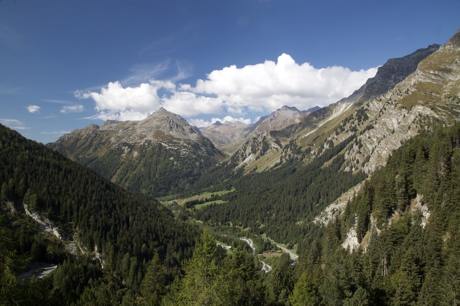 The Maloja Pass leads across the Italian-Swiss border, north of Chiavenna