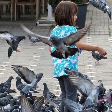 The girl was feeding the pigeons on the Cathedral's Square. I was so lucky to be at the right time in the right place.