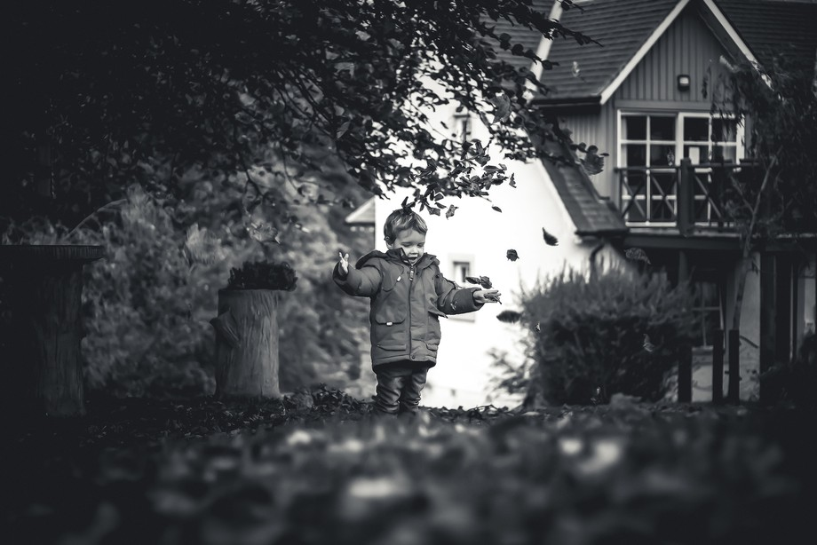 Took this shot of my 2yr old playing with the leaves behind our holiday lodge in Duchally Scotland.