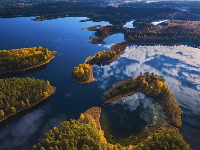 Aerial autumn view of Dringis lake in Lithuania by lukasjonaitis - Above The Earth Photo Contest