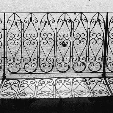 Early shadows on the Roman Bridge in Tavira, Portugal