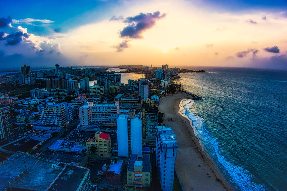 Puerto Rico shoreline, taken from the roof of the Hilton Hotel on the beach.