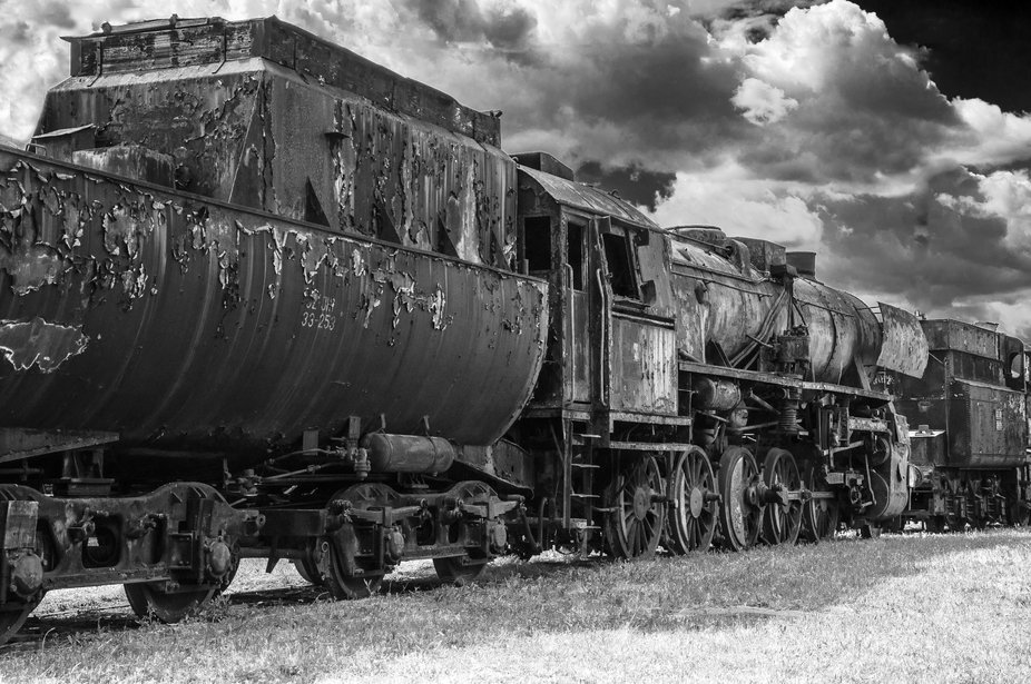 The last locomotives in the Railway Museum are waiting for reconstruction. Location  Slovenia - c...