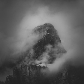 A moody view of Castle Mountain