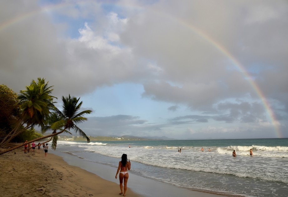 By the beach a rainbow after the rain