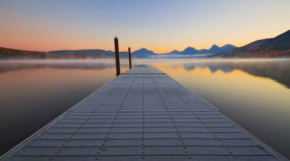 Sunrise with fog on Lake McDonald in Glacier this week.