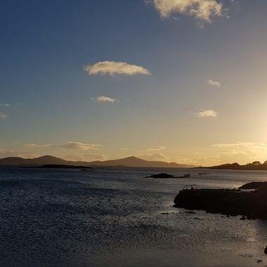 Late autumn sun sets on Dunmanus Bay in SW Ireland