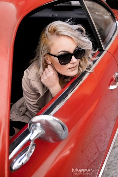 The girl in the red car..