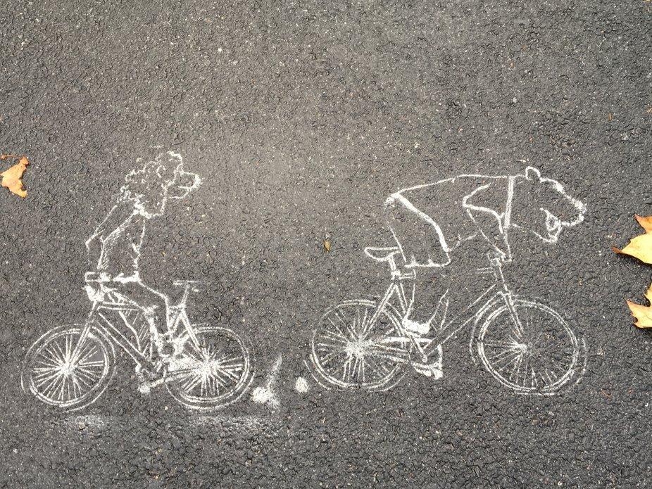 Sidewalk art along Riverside Park Pedestrian Path.
