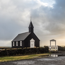 Búðakirkja / Buðir church is one of the 3 black churches in Iceland. They are black because the wood is painted with pitch to protect them fro...