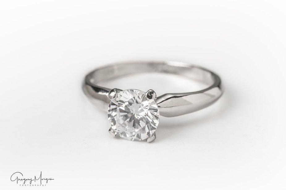 Silver band diamond ring
