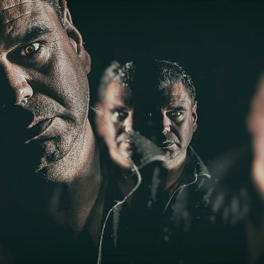 Promotional images from the band Arena's Double Vision album.