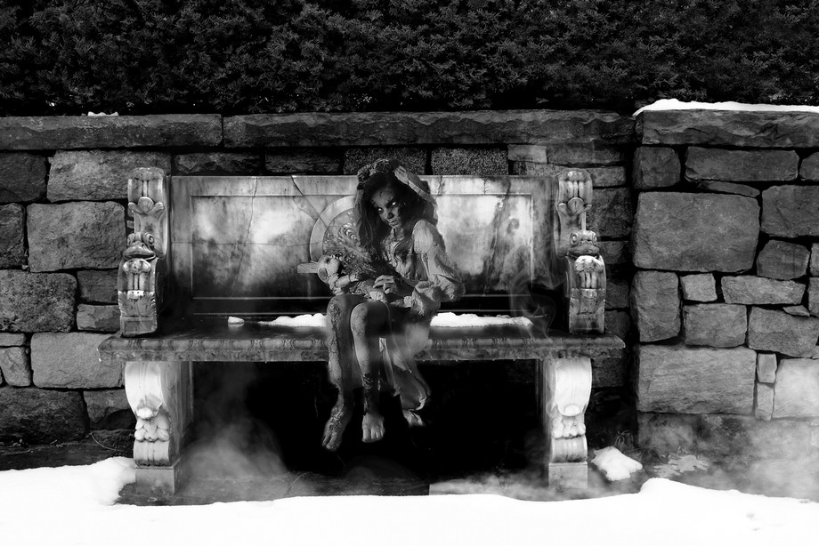 The bench, etc., are from an estate I shot and the girl, safe so say she isn't mine!