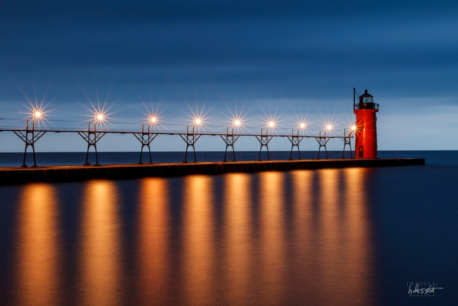 Blue hour long exposure of the South Haven Pier in South Haven, Michigan.