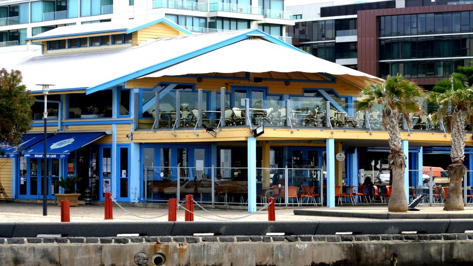 A colourful restaurant and high rise buildings on the Corio foreshore at Geelong, Australia.   *C...