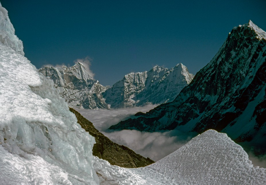 Climbing trip in Nepal, climbing over 5,755 m. Looking east. We are going over into Rolwaling Dis...