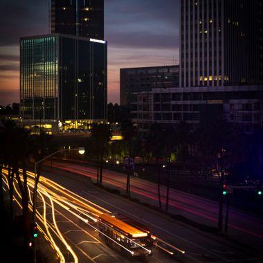 Downtown Long Beach, California as night descends