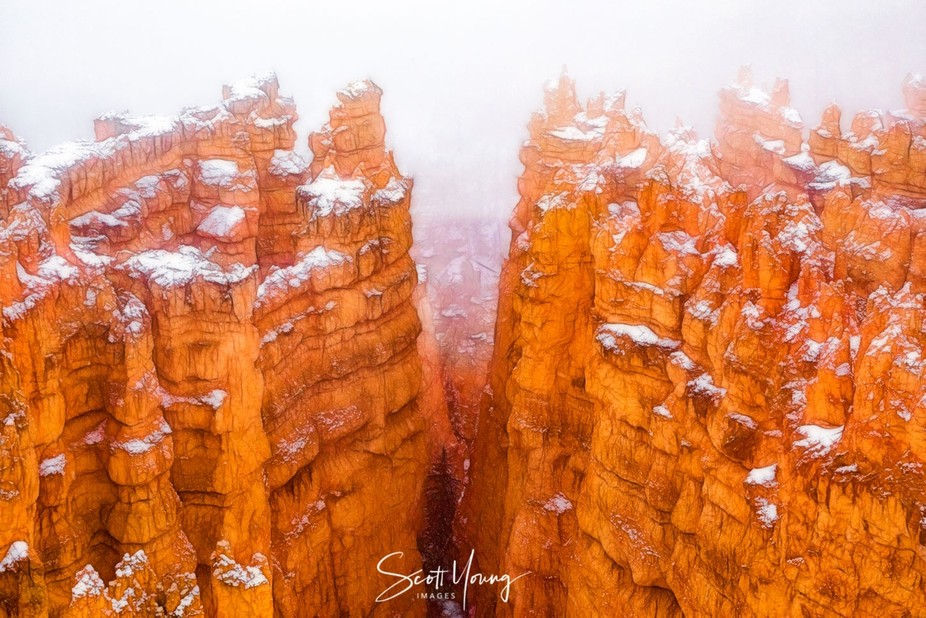 Taken on a snowy morning at Sunset Point, Bryce Canyon