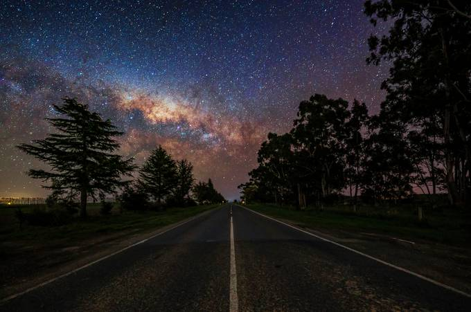 Highway to Milky Way by GkCM - Straight Roads Photo Contest