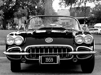 1959 Corvette 001 in Black and White