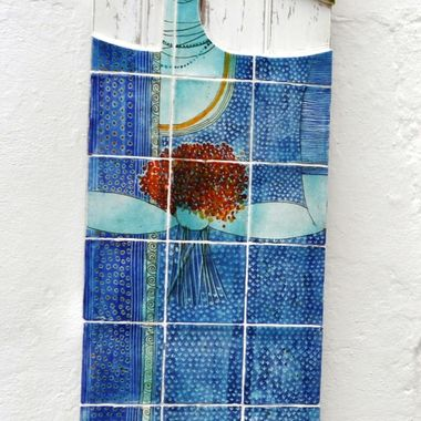 Tradition Portuguese azulejos or tiles usually used to cover the front of houses, used here as art