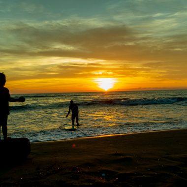 Viareggio the beach at sunset