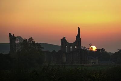 Sundown over Byland Abbey Ruins