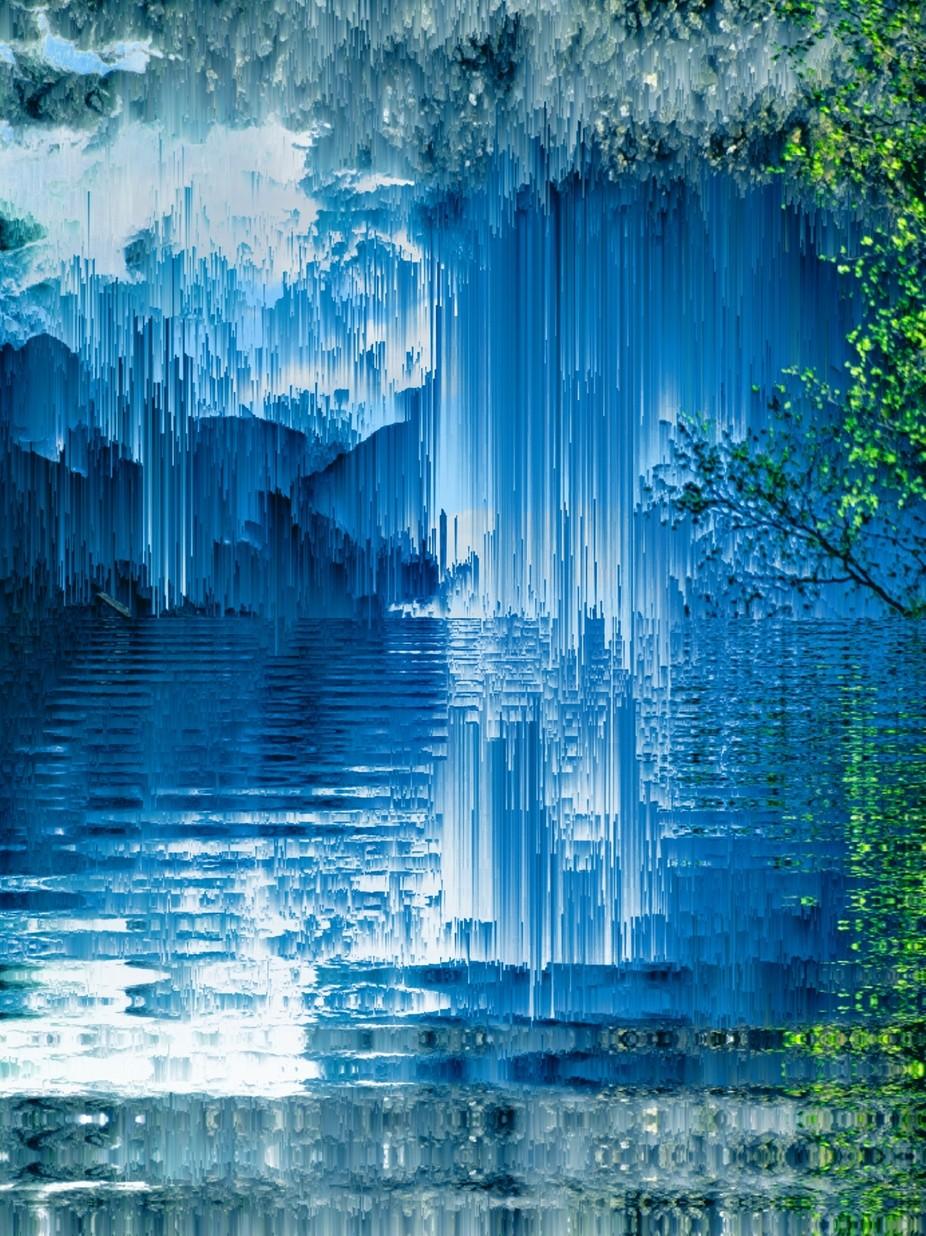 Ein Wasserfall der in Position gebracht wurde