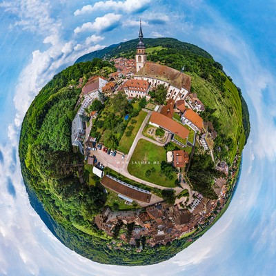 Andlau, little village in Alsace, aerial drone view